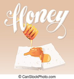Honey Vector Illustration Hand Lettered text with Honey...