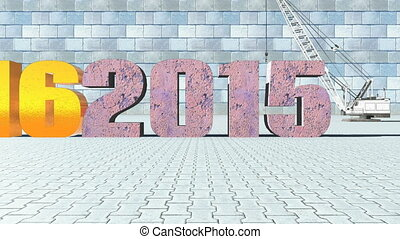 New Year 2016 replaces old 2015 - New year 2016 oust old...