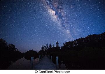 wooden jetty under milky way galaxy