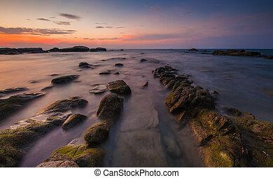 sunset at rocky beach - Borneo Sabah Malaysia