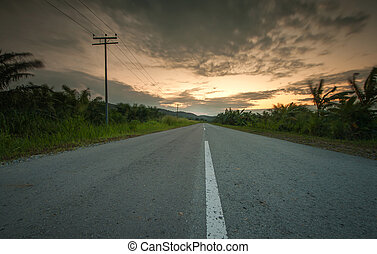road sunset