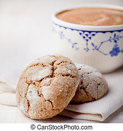 Cup of coffee with cookies. Breakfast . Morning.