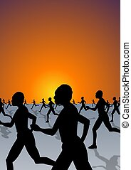race - Illustration of people running