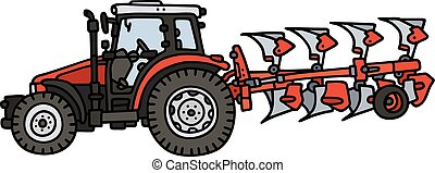 Tractor with a plow - Hand drawing of a red tractor with the...