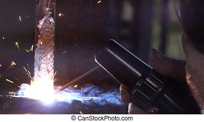 Arc welding close up - Close up macro footage of shielded...