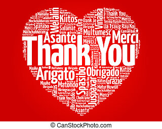Thank You in many languages love heart, red vector...
