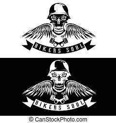 biker theme label with flowers,wings,pistons and skull