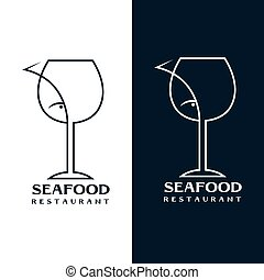 seafood restaurant vector design template with wine glass...
