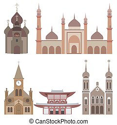 vector illustration of temples