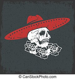 Day of The Dead Skull with flowers and sombrero, dia de los...