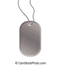 Military dog tag on white background, vector illustration