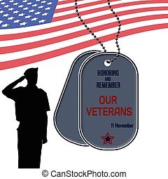Veterans Day poster with US Army soldier saluting the...