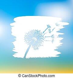 Watercolor graphic dandelion. Vector