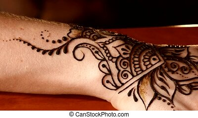 Process of applying mehndi on wrist - Process of applying...