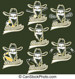 set of skull bandit sports labels