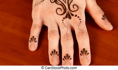 Finish showing of applying mehndi on wrist