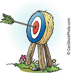 An arrow in bulls eye - Vector cartoon illustration of an...