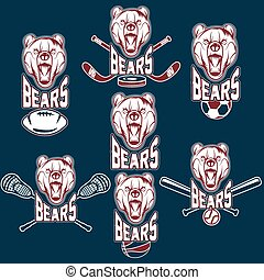 set of bear sports labels