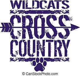wildcats cross country team design with arrow and paw print