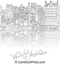 Vector city view of Amsterdam canal - Black and white hand...