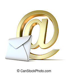Envelope with golden e-mail sign