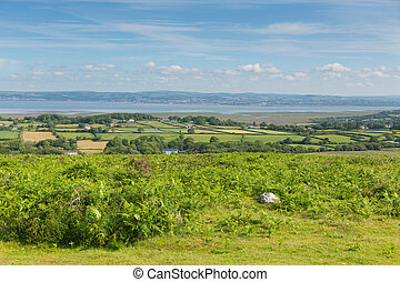 View from Cefn Bryn hill The Gower peninsula South Wales UK...