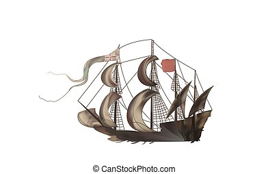 Vintage illustration of a medieval sailing frigate brown...