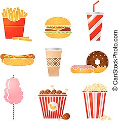 fastfood icons - Vector set of nine fastfood icons