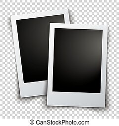 Two photos - Vector template with two photos with shadows on...