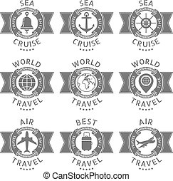 set logos for a travel and cruise - Vector set logos for a...