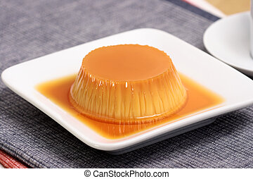 flan and coffee - Flan dessert made with prime organic milk,...