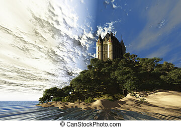 CASTLE RETREAT - A beautiful castle sits majestically on a...