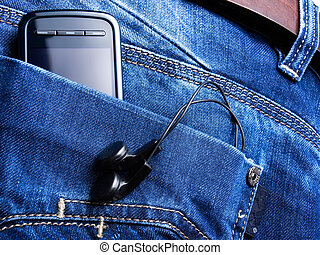 Music pocket - Metaphor about new jeans generation with some...