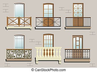 Set of different classical balconies