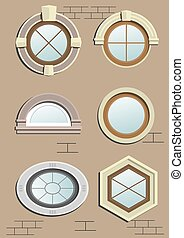 Wooden Wooden window in the wall in vector graphics. in the...