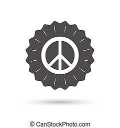 Peace sign icon Hope symbol - Vintage emblem medal Peace...