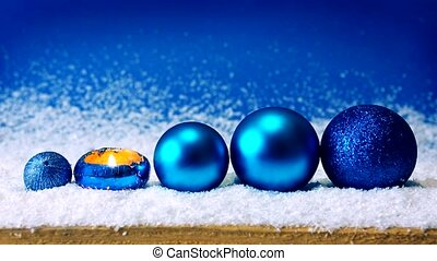 Advent candle and blue Christmas balls . - Blue christmas...
