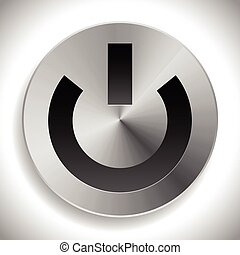 Metallic icon with power symbol, metallic power button.