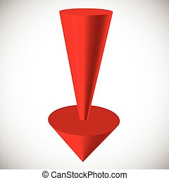 Red 3d arrow render on white Vector