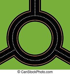 Empty junction, roundabout, asphalt road vector