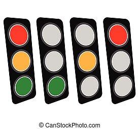 Traffic Light Traffic Lamp set Vector Illustration