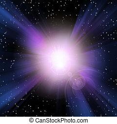 luz, estouro, espaço