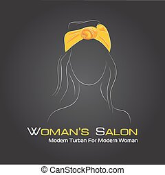 Silhouette woman in a turban on black - Vector illustration....
