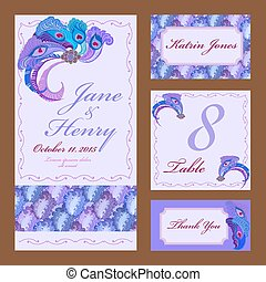 Peacock Feathers Wedding card set. Printable Vector illustration