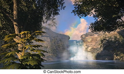 (1148) Waterfall Rainbow Tropical Oasis Jungle Sunset LOOP -...