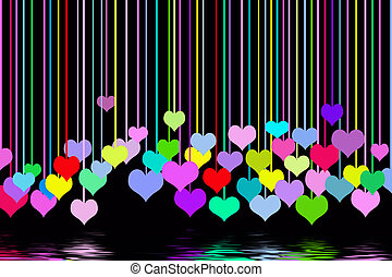 Hanging Hearts - Colorful hanging hearts on black.