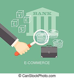 e-commerce - Flat illustration. Hand with loupe, briefcase...