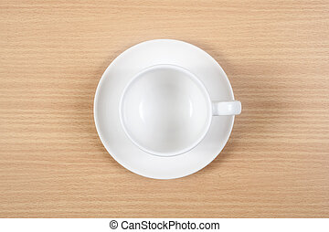 coffee cup on table top view