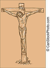 Jesus Christ hanging on the cross with white highlights.
