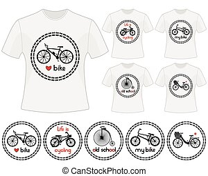 Cycling vector labels for t-shirts